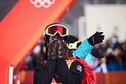 PYEONGCHANG-GUN, SOUTH KOREA - FEBRUARY 17: Mathilde Gremaud of Switzerland reacts during the Womens Slopestyle Freestyle Skiing on day eight of the PyeongChang 2018 Winter Olympic Games at Phoenix Snow Park on February 17, 2018 in Pyeongchang-gun, South Korea. Photo by Nils Petter Nilsson/Ombrello               ***BETALBILD***