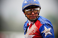 Jockey, Mike Smith after the 2012 Santa Anita Oaks at Santa Anita Park in Arcadia California on March 31, 2012.