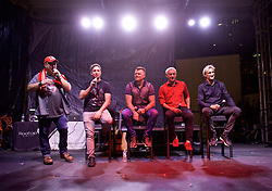 CHARLOTTE, USA - Saturday, July 21, 2018: Liverpool FC legends Robbie Fowler, John Arne Riise, Ian Rush and Sami Hyypia on stage at a Legends show at the Rooftop 102 in the Epicentre Charlotte ahead of a preseason International Champions Cup match between Borussia Dortmund and Liverpool FC in Charlotte. (Pic by David Rawcliffe/Propaganda)