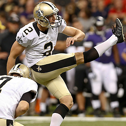 Aug 28, 2014; New Orleans, LA, USA; New Orleans Saints place kicker Derek Dimke (2) during a preseason game against the Baltimore Ravens at Mercedes-Benz Superdome. The Ravens defeated the Saints 22-13. Mandatory Credit: Derick E. Hingle-USA TODAY Sports