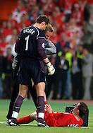 n/z.: bramkarz Jerzy Dudek (nr1-Liverpool) pomaga Jamie Carragher (nr23-Liverpool) podczas meczu finalowego Ligi Mistrzow FC Liverpool (czerwone) - AC Milan (biale) 3:3 karne 3:2 , liga mistrzow , final sezon 2004/2005 , pilka nozna , Turcja , Stambul , 25-05-2005 , fot.: Adam Nurkiewicz / mediasport..goalkeeper Jerzy Dudek (nr1-Liverpool) helps to Jamie Carragher (nr23-Liverpool) during final Champions League soccer match in Istambul. May 25, 2005 ; FC Liverpool (red) - AC Milan (white) 3:3 penalty 3:2 ; Champions League , final season 2004/2005 , football , Turkey , Istambul ( Photo by Adam Nurkiewicz / mediasport )