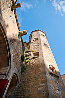 Looking up at one of the towers of Chateauneuf-en-Auxois, France.