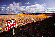 Keep out sign. Surplus oranges chopped up and dried in the sun for cattle feed by the Sungro Company on an old airfield runway in Famoso, California, USA. Don Smith's cattle feed drying lot.