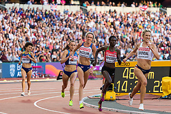 London, August 10 2017 . Karoline Bjerkeli Grøvdal, Norway, leads the pack chasing down Molly Huddle, USA, ahead of Eilish McColgan, Great Britain, and Margaret Chelimo Kipkemboi, Kenya, in the women's 5,000m heats on day seven of the IAAF London 2017 world Championships at the London Stadium. © Paul Davey.