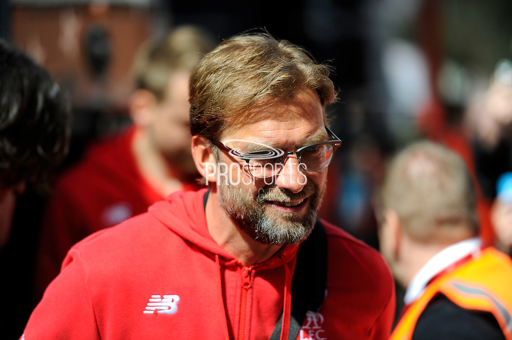Liverpool manager Jurgen Klopp on arrival at the Vitality Stadium for the Barclays Premier League match between Bournemouth and Liverpool at the Goldsands Stadium, Bournemouth, England on 17 April 2016. Photo by Graham Hunt.