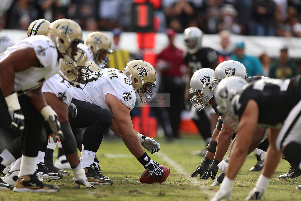 The New Orleans Saints line up against the Oakland Raiders during an NFL game on Sunday, Nov. 18, 2012 at the Oakland Coliseum in Oakland, Ca. (AP Photo/Jed Jacobsohn)