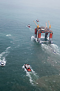 "Offshore oil platform ""DELTA HOUSE"" being towed offshore from Kiewit in Ingleside, Texas by Crowley Maritime Corporation's OCEAN CLASS Tugs. (Photography by Tim Burdick)"
