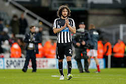 Fabricio Coloccini of Newcastle United looks dejected after Sunderland win 0-1 with a late goal - Photo mandatory by-line: Rogan Thomson/JMP - 07966 386802 - 21/12/2014 - SPORT - FOOTBALL - Newcastle upon Tyne, England - St James' Park - Newcastle United v Sunderland - Tyne-Wear derby - Barclays Premier League.