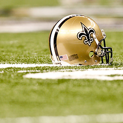August 21, 2010; New Orleans, LA, USA; A New Orleans Saints helmet on the field during warm ups prior to kickoff of a preseason game against the Houston Texans at the Louisiana Superdome. Mandatory Credit: Derick E. Hingle
