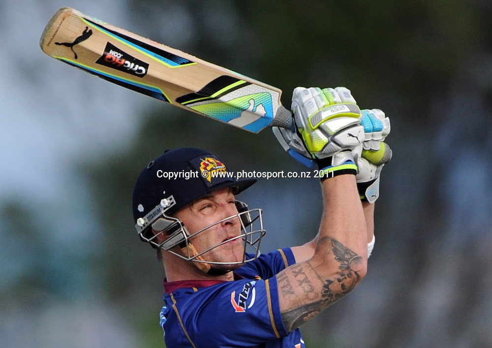 Otago batsman Brendon McCullum hits out during the HRV Twenty20 Cricket match between the Auckland Aces and Otago Volts at Colin Maiden Oval in Auckland, New Zealand on Friday 6 January 2012. Photo: Andrew Cornaga/Photosport.co.nz