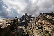 View of Nez Perce mountain, 3000m up inGrand Teton National Park, near Amphitheatre Lake, Wyoming.
