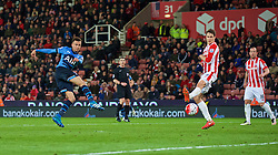 STOKE-ON-TRENT, ENGLAND - Monday, April 18, 2016: Tottenham Hotspur's Dele Alli scores the fourth goal against Stoke City during the FA Premier League match at the Britannia Stadium. (Pic by David Rawcliffe/Propaganda)