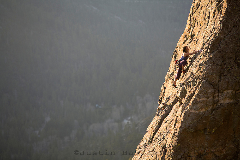 Melanie Tavesieff climbing at Lower Luther Spires in South Lake Tahoe, CA