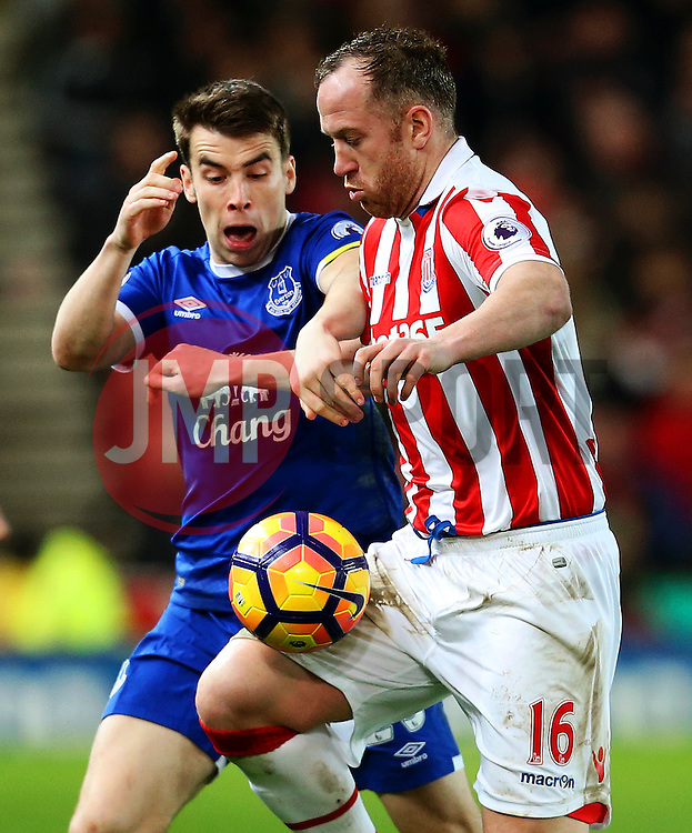 Seamus Coleman of Everton challenges Charlie Adam of Stoke City - Mandatory by-line: Matt McNulty/JMP - 01/02/2017 - FOOTBALL - Bet365 Stadium - Stoke-on-Trent, England - Stoke City v Everton - Premier League