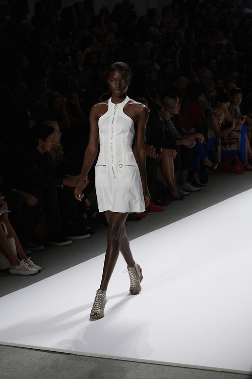 A white dress with zippers by Richard Chai at the Spring 2013 Mercedes Benz Fashion Week show in New York.