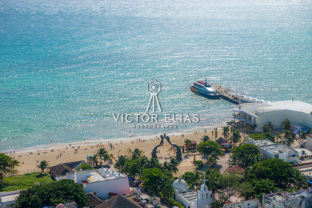 Aerial view of Portal Maya and Cozumel Ferry. Playa del Carmen.