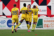 AFC Wimbledon defender Barry Fuller (2) celebrating after scoring goal to make it 1-0 during the Pre-Season Friendly match between Ebbsfleet and AFC Wimbledon at Stonebridge Road, Ebsfleet, United Kingdom on 29 July 2017. Photo by Matthew Redman.