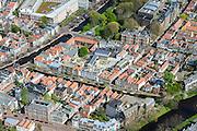 Nederland, Zuid-Holland, Leiden, 09-04-2014; centrum Leiden met Vliet tussen Witte Singel en Rapenburg (links).<br /> Old town and heart of the city of Leiden with canals and  University buildings.<br /> luchtfoto (toeslag op standard tarieven);<br /> aerial photo (additional fee required);<br /> copyright foto/photo Siebe Swart