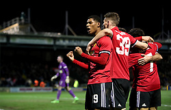 Manchester United's Marcus Rashford (left) celebrates after team-mate Ander Herrera (obscured) scores his side's second goal of the game during the Emirates FA Cup, fourth round match at Huish Park, Yeovil.