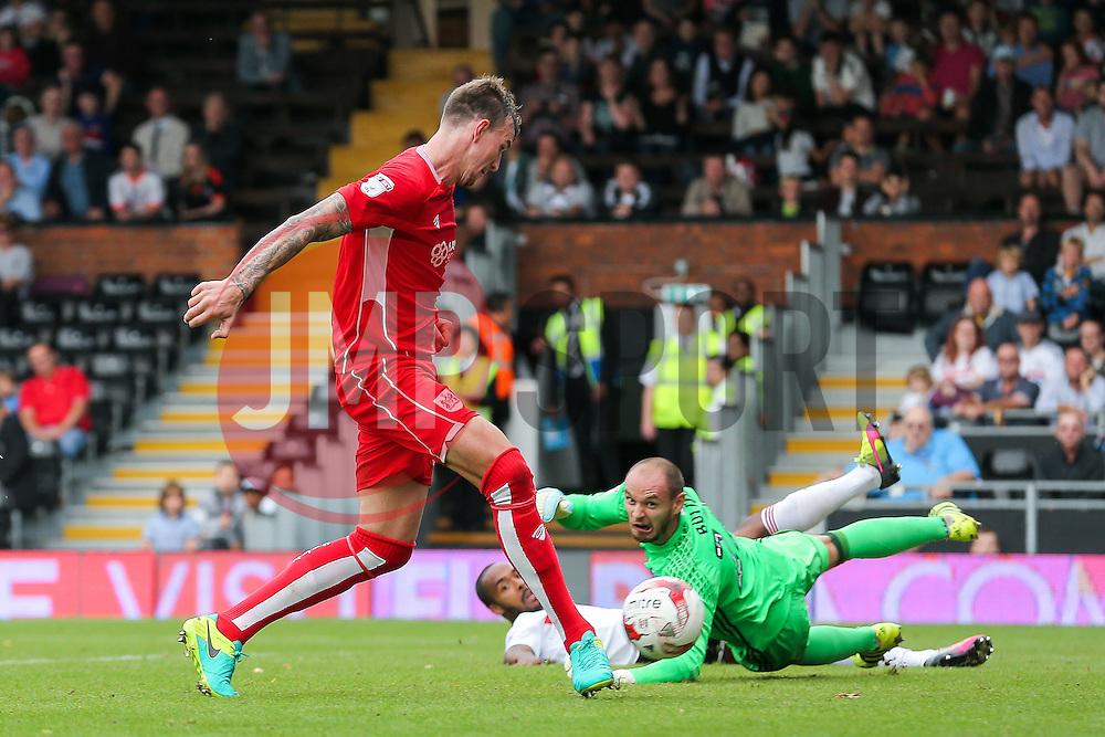 Aden Flint of Bristol City scores a goal to make it 0-4 - Rogan Thomson/JMP - 24/09/2016 - FOOTBALL - Craven Cottage Stadium - London, England - Fulham v Bristol City - Sky Bet EFL Championship.