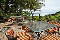 The deck at Restaurant Brisa Azul at Lapa Rios Ecolodge, Osa Peninsula, Costa Rica