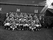 Irish Rugby Football Union, Ireland v England, Five Nations, Landsdowne Road, Dublin, Ireland, Saturday 14th February, 1959,.14.2.1959, 2.14.1959,..Referee- D Gwynne Walters, Welsh Rugby Union, ..Score- Ireland 0 - 3 England, ..Irish Team, ..N J Henderson, Wearing number 15 Irish jersey, Full back, N.I.F.C, Rugby Football Club, Belfast, Northern Ireland,..N H Brophy, Wearing number 14 Irish jersey, Right wing, University College Dublin Rugby Football Club, Dublin, Ireland, ..A J O'Reilly, Wearing number 13 Irish jersey, Right Centre, Old Belvedere Rugby Football Club, Dublin, Ireland, and, Leicester Rugby Football Club, Leicester, England, ..J F Dooley, Wearing  Number 12 Irish jersey, Left Centre, Galwegians Rugby Football Club, Galway, Ireland, ..A C Pedlow, Wearing number 11 Irish jersey, Left wing,  C I Y M S Rugby Football Club, Belfast, Northern Ireland, ..M A English, Wearing number 10 Irish jersey, Outside Half, Bohemians Rugby Football Club, Limerick, Ireland,..A A Mulligan, Wearing number 9 Irish jersey, Scrum Half, London Irish Rugby Football Club, Surrey, England, ..B G Wood, Wearing number 1 Irish jersey, Forward, Garryowen Rugby Football Club, Limerick, Ireland, ..A R Dawson, Wearing number 2 Irish jersey, Captain of the Irish team, Forward, Wanderers Rugby Football Club, Dublin, Ireland, ..S Millar, Wearing number 3 Irish jersey, Forward, Ballymena Rugby Football Club, Antrim, Northern Ireland,..W A Mulcahy, Wearing number 4 Irish jersey, Forward, University College Dublin Rugby Football Club, Dublin, Ireland, ..M G Culliton, Wearing number 5 Irish jersey, Forward, Wanderers Rugby Football Club, Dublin, Ireland, ..N A Murphy, Wearing number 6 Irish jersey, Forward, Cork Constitution Rugby Football Club, Cork, Ireland,..P J A O' Sullivan, Wearing  Number 7 Irish jersey, Forward, Galwegians Rugby Football Club, Galway, Ireland,..J R Kavanagh, Wearing number 8 Irish jersey, Forward, Wanderers Rugby Football Club, Dublin, Ireland,