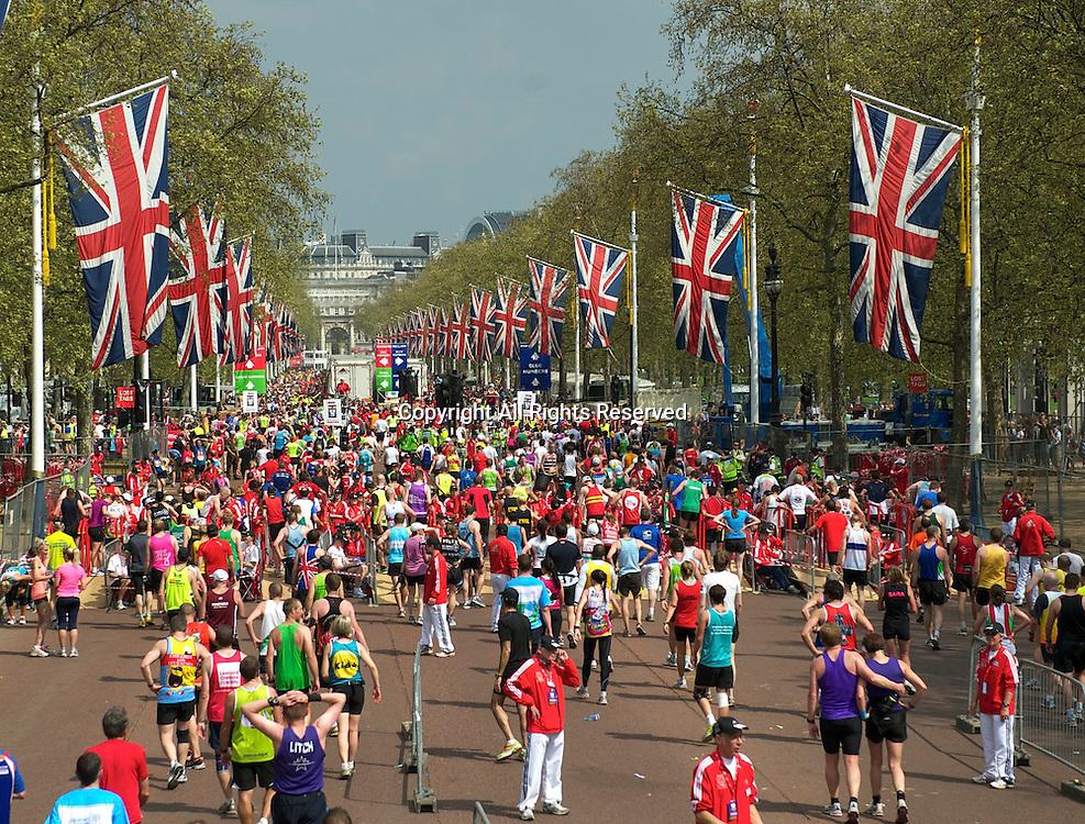 17.4.2011. Virgin London Marathon 2011. Competitors make their way home after the Virgin London Marathon at the finish line of The Virgin London Marathon at The Mall, London ,England