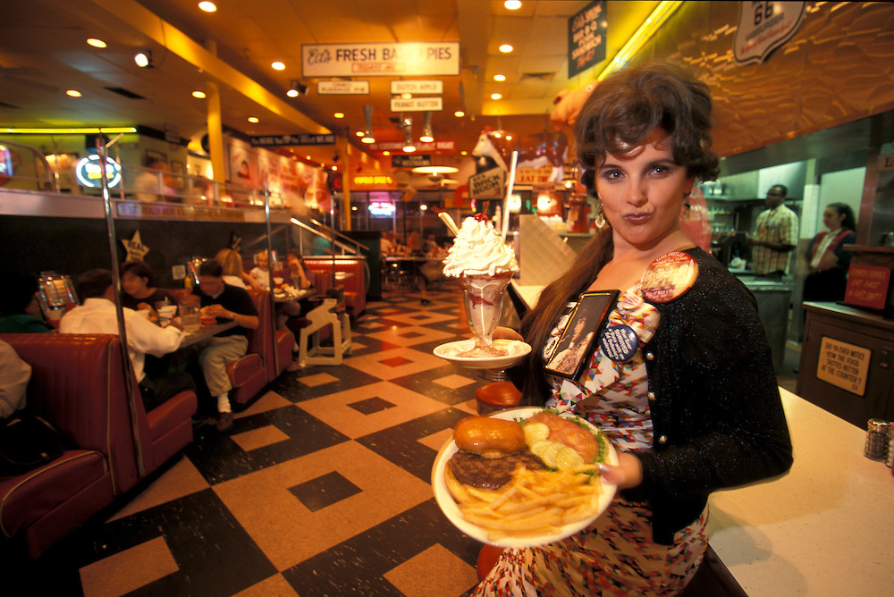 Model Release,waitress,  Ed Debevic's Diner, Hamburger and fries with milk shake,  Route 66, Phoenix,.Arizona, USA