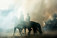 Scheveningen - Members of the cavalry escort of honor exercising on the beach in Scheveningen for Budget Day. These horses and riders are subjected to a final severe test by exposing them to gunfire, gun strokes, music, smoke, and possible audience responses them. COPYRIGHT ROBIN UTRECHT