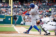 May 23, 2014; Detroit, MI, USA; Texas Rangers left fielder Shin-Soo Choo (17) at bat in front of Detroit Tigers catcher Alex Avila (13) at Comerica Park. Mandatory Credit: Rick Osentoski-USA TODAY Sports