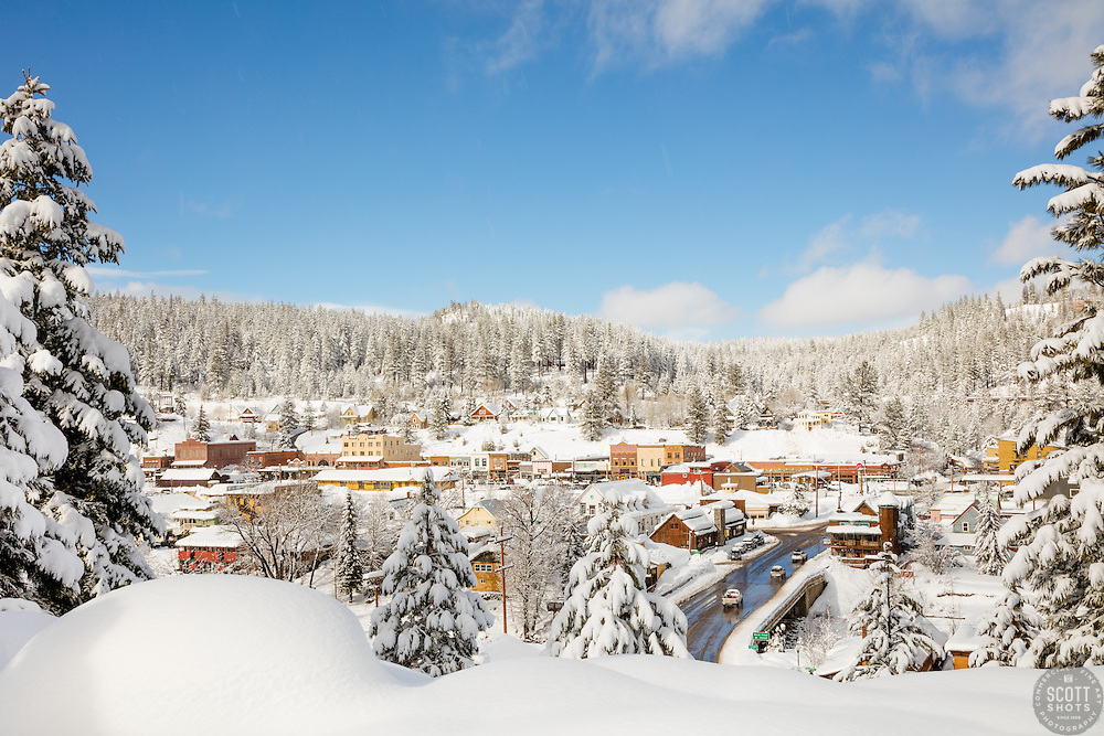 """Downtown Truckee 28"" - Photograph of a snowy historic Downtown Truckee, shot in the afternoon, after a big snow storm."