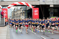 The start of the U15 boys race. The Virgin Money London Marathon, Sunday 26th April 2015.<br /> <br /> Photo: Jed Leicester for Virgin Money London Marathon<br /> <br /> For more information please contact Penny Dain at pennyd@london-marathon.co.uk
