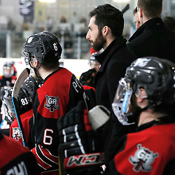 TRENTON, ON  - MAY 5,  2017: Canadian Junior Hockey League, Central Canadian Jr. &quot;A&quot; Championship. The Dudley Hewitt Cup. Game 7 between The Georgetown Raiders and The Powassan Voodoos. Georgetown Raiders Assistant Coach Rob Ricci during the third period <br /> (Photo by Amy Deroche / OJHL Images)