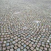 Cobblestone streets in Brussels, Belgium.