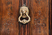 Traditional brass door knocker, Madrid, Spain