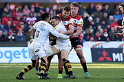 Wasps back Row Thomas Young held up during the Aviva Premiership match between Gloucester Rugby and Wasps at the Kingsholm Stadium, Gloucester, United Kingdom on 24 February 2018. Picture by Alan Franklin.