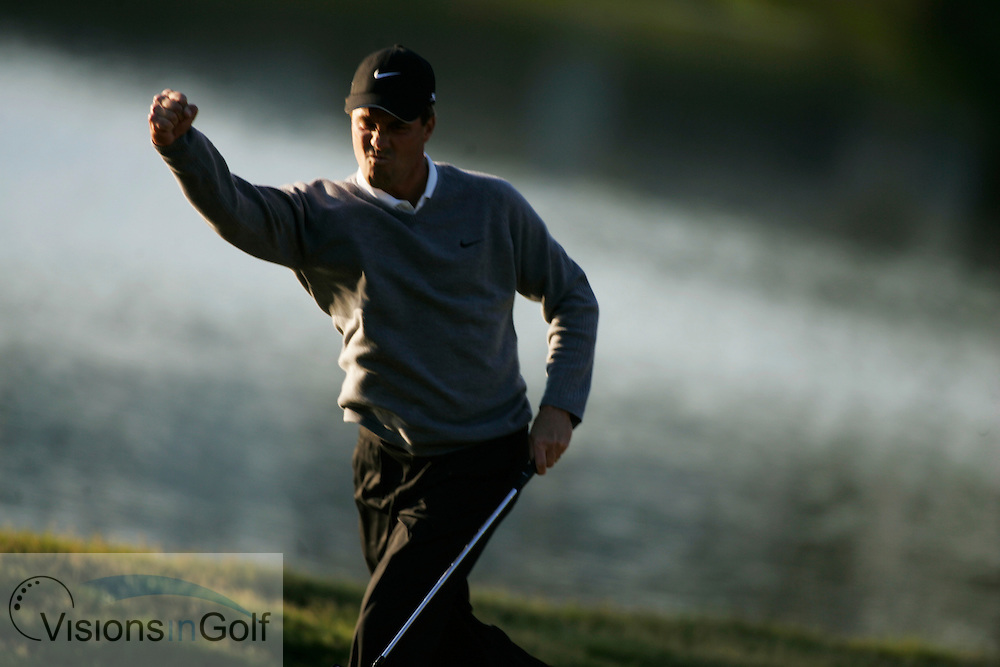 Stephen Ames celebrates his eagle putt on the 16th on his way to winning <br /> THE PLAYERS Championship at TPC Sawgrass GC, Stadium, Ponte Vedra, Jacksonville, Florida USA. 26th March 2006. Day 4 final day<br /> Picture Credit:   Mark Newcombe / visionsingolf.com