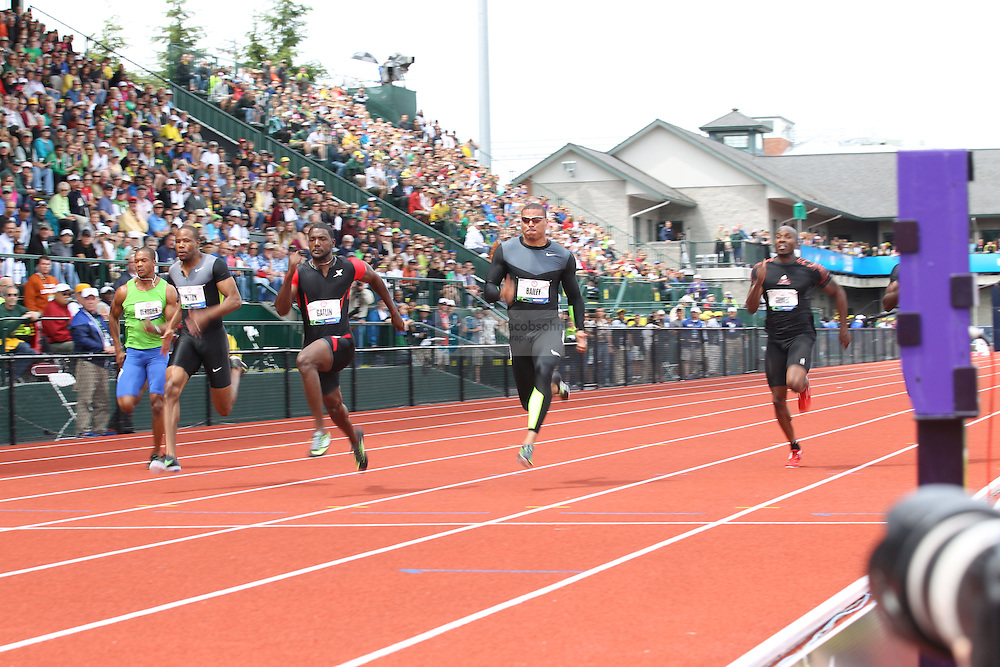 Justin Gatlin runs in the semi-finals of the 100m during day 3 of the U.S. Olympic Trials for Track & Field at Hayward Field in Eugene, Oregon, USA 24 Jun 2012..(Jed Jacobsohn/for The New York Times)....