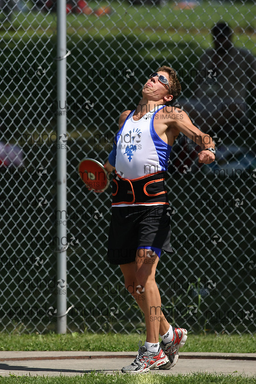 (Ottawa, Ontario---15 August 2008)  David Normandin of Qu?bec competing in the men's discus at the 2008 Ontario Summer Games and Ontario v. Quebec v. Atlantic Canada Espoire Meet. Photo copyright Sean Burges/Mundo Sport Images. More details can be found at www.msievents.com.