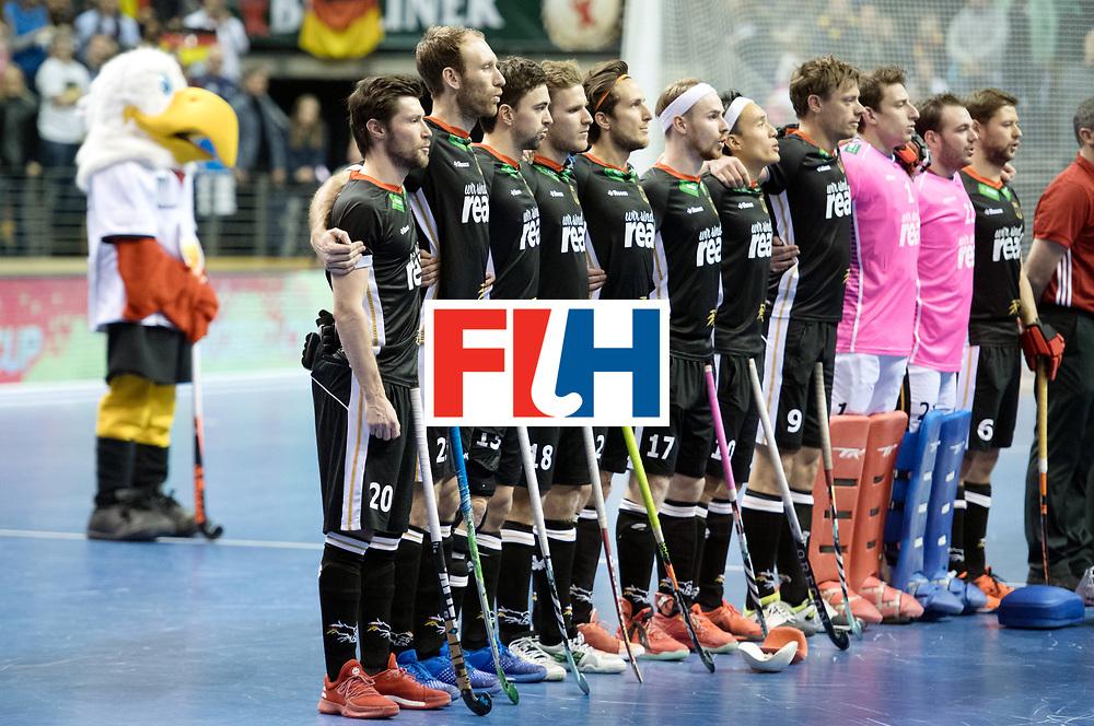 BERLIN - Indoor Hockey World Cup<br /> SF1 Germany - Iran<br /> foto: Line Up <br /> WORLDSPORTPICS COPYRIGHT FRANK UIJLENBROEK