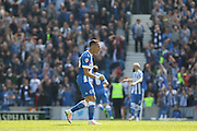 Brighton defender, full back, Liam Rosenior (23) celebrates the second goal 2-1 during the Sky Bet Championship match between Brighton and Hove Albion and Burnley at the American Express Community Stadium, Brighton and Hove, England on 2 April 2016. Photo by Phil Duncan.