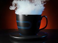 White dense steam coming out of a tea cup