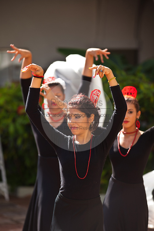 Traditional flamenco dancers during the Festival of San Sebastian in San Juan, Puerto Rico.
