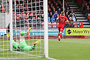 Luton Town Goalkeeper Christian Walton is beaten by Crawley Town Forward James Collins and celebrates his goal 1-0 during the EFL Sky Bet League 2 match between Crawley Town and Luton Town at the Checkatrade.com Stadium, Crawley, England on 17 September 2016. Photo by Phil Duncan.