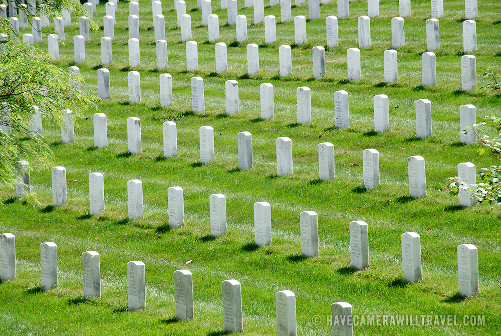 White marble headstones at Arlington National Cemetery near Washington DC.
