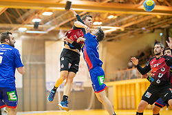 30.03.2019, Sporthalle Leoben Donawitz, Leoben, AUT, spusu HLA, Union JURI Leoben vs Sparkasse Schwaz Handball Tirol, Qualifikationsrunde, 9. Spieltag, im Bild Sebastian Spendier (Sparkasse Schwaz Handball Tirol), Maximilian Maier (Union JURI Leoben) // during the spusu Handball League Austria qualification round, 9th round match between Union JURI Leoben and Sparkasse Schwaz Handball Tirol at the Sporthalle Leoben Donawitz in Leoben, Austria on 2019/03/30. EXPA Pictures © 2019, PhotoCredit: EXPA/ Dominik Angerer