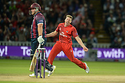James Faulkner celebrates the wicket of Richard Levi during the NatWest T20 Blast final match between Northants Steelbacks and Lancashire Lightning at Edgbaston, Birmingham, United Kingdom on 29 August 2015. Photo by David Vokes.
