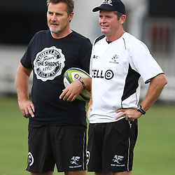 DURBAN, SOUTH AFRICA, 17 November 2015 - Robert du Preez( Assistant Coach) of the Cell C Sharks with Sean Everitt (Assistant Coach) of the Cell C Sharks during The Pre-season training squad and coaching team announcement at Growthpoint Kings Park in Durban, South Africa. (Photo by Steve Haag)<br /> images for social media must have consent from Steve Haag
