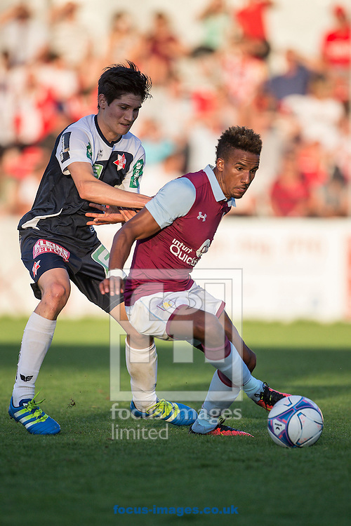Marco Heibl of Grazer AK and Scott Sinclair of Aston Villa during the pre season friendly match at Sportcentre Weinzoedl, Graz, Austria.<br /> Picture by EXPA Pictures/Focus Images Ltd 07814482222<br /> 09/07/2016<br /> *** UK &amp; IRELAND ONLY ***<br /> EXPA-IES-160709-0035.jpg