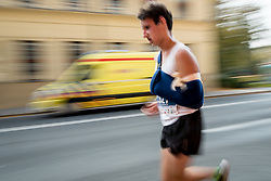 Athletes with injureyed arm and medics in backroung during 22nd Ljubljana Marathon 2017 on October 29, 2017 in Ljubljana, Slovenia. Photo by Matic Klansek Velej / Sportida